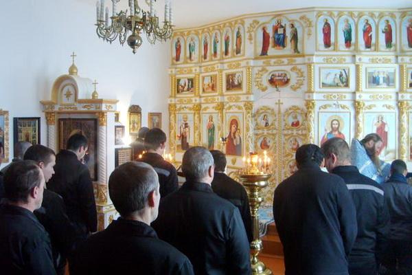 В храме исправительной колонии №2 состоялась божественная литургия в честь Сретения Господня
